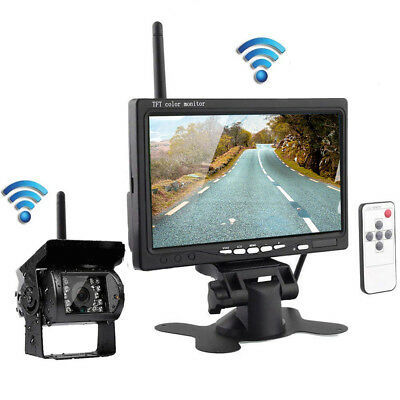 "7"" LCD Moniteur Car Rear View Kit + IR LED sans fil Caméra de recul Bus Truck FR"