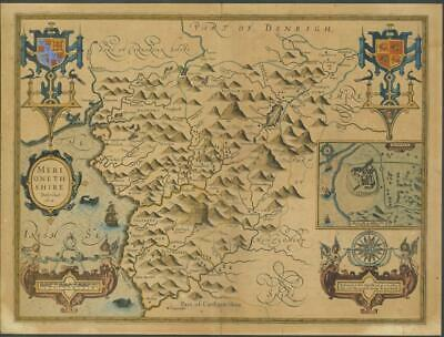 c1627 Antique Map - MERIONETHSHIRE Wales John Speed Humble Map LOW START!