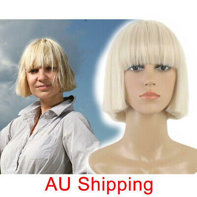 Sia Wigs Womens Short Blonde Straight Cosplay Costume Bob Full Hair With Bang AU