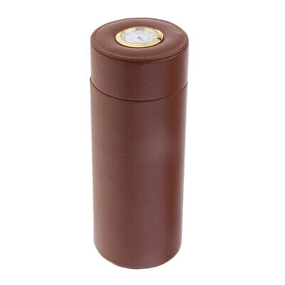 Portable PU Leather Cigar Humidor Travel Case Storage Tube with Hygrometer