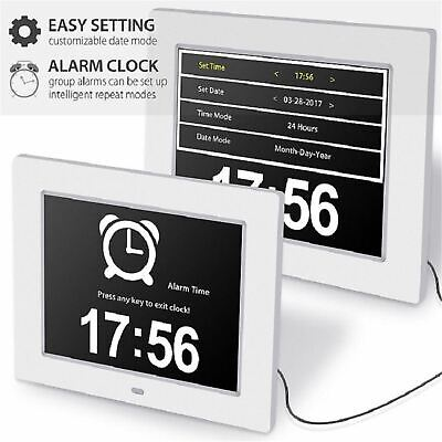 8'' LED Dementia Digital Calendar Day Clock Extra Large Day/Week/Month/Year HOT!