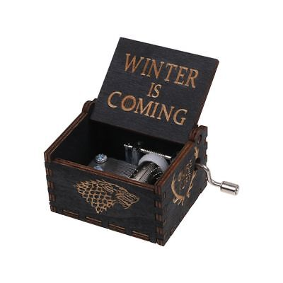 Black Game of Thrones Music Box Engraved Wooden Music Box Interesting Kids Toys