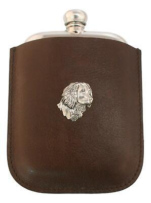 Spaniel Head Pewter 4oz Traditional Hip Flask In Leather Pouch FREE ENGRAVING