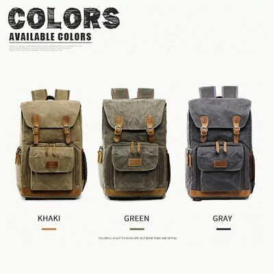 DSLR SLR Camera Bag Backpack Canvas Waterproof Travel Laptop Lens Case Large