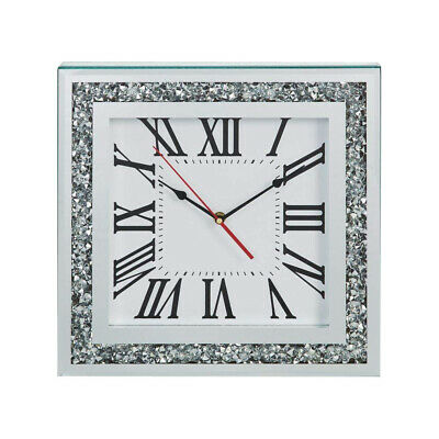 Hestia Square Mirror Glass Mantel Clock With Crystal Edge Analogue Roman Numeral