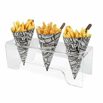Acrylic Chip Cone Holder Display, Fish & Chip Shops, Kitchen, BBQ, Cafe (DS71)