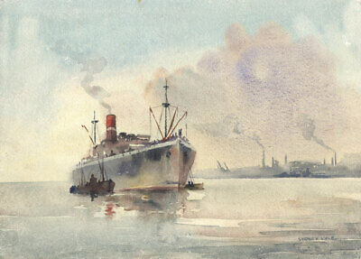 Sydney Vale FRSA - Mid 20th Century Watercolour, Steam Ship off a Harbour