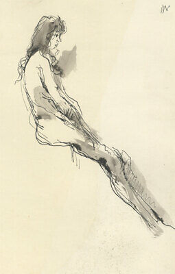 Peter Collins ARCA - c.1970s India Ink, Nude Woman