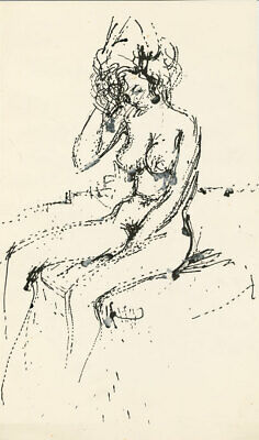 Peter Collins ARCA - c.1970s Pen and Ink Drawing, Seated Nude