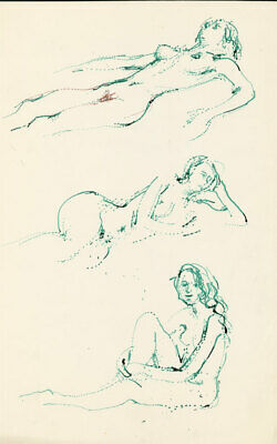 Peter Collins ARCA - c.1970s Pen and Ink Drawing, Green Nude