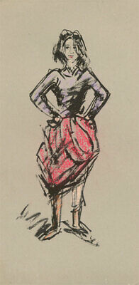 Peter Collins ARCA - c.1970s Pastel, Lady in a Pink Skirt