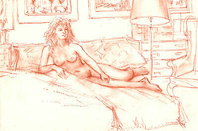 Peter Collins ARCA - c.1970s Sanguine, Long Haired Nude