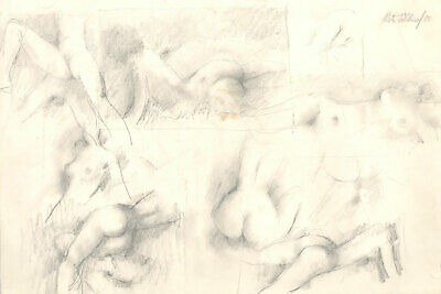 Peter Collins ARCA - Signed 1983 Graphite Drawing, Group of Female Nudes