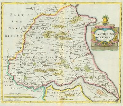 1722 Original Antique Map - YORKSHIRE EAST RIDING Robert Morden HAND COLOURED