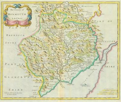 1722 Original Antique Map - MONMOUTH WALES by Robert Morden HAND COLOURED