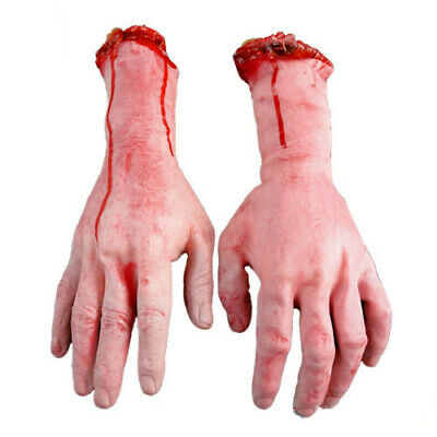 EP Bloody Hands Zombie Skinned Arm Skeleton Halloween Prop Body Parts Walking SH