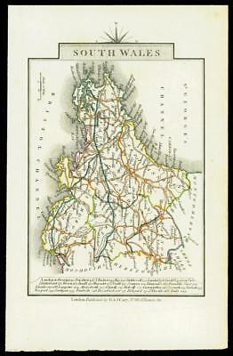 c1793 Small Antique MAP of 'SOUTH WALES' by John Cary Outline Colour (W/DW126)