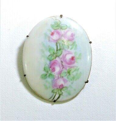 Victorian Large Hand Painted Porcelain Pink Roses Brooch Pin AP191013