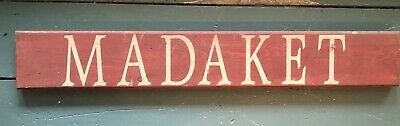 Vintage Hand Painted Red MADAKET Wood Wooden Sign Nantucket Beach Wall Hanging