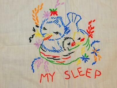 Vintage Hand Embroidered BABY QUILT TOP Nursery Wall Crib PRAYER ANGELS 38x43