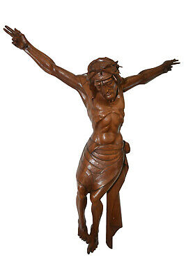 Large Hand Carved Christ Corpus Wall Carving, Religious, Walnut, 19th Century