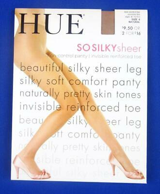 011221dbcc0 PANTYHOSE HUE SO Silky Sheer Non Control Top Hosiery Black Size 4 ...