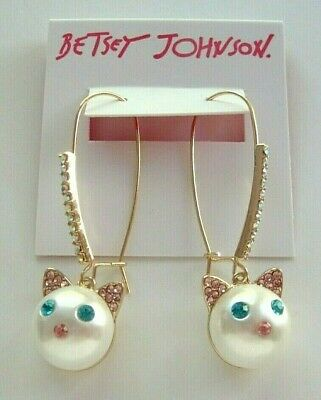 232d9ce59 NWT Betsey Johnson JUST KITTEN AROUND Gold Tone Pearl & Stones Cat Hook  Earrings