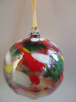 Glass Mouth Blown Spirit of Friendship Ball Multi Shades 8cm Boxed Ideal Gift