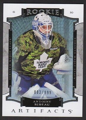 2015-16 Artifacts #162 Antoine Bibeau RC 003/999 Rookie Card Toronto Maple Leafs