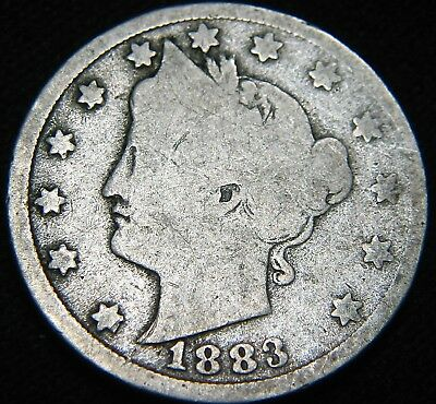 Nice 1883 with CENTS Liberty V Nickel 5c! First Year! FREE S&H! FA88UP