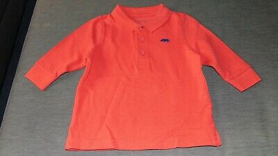 M&S 100%Cotton L/Sleeved 'Rhino' Collared Polo Shirt Top 3-6m 69cm Red Mix BNWT