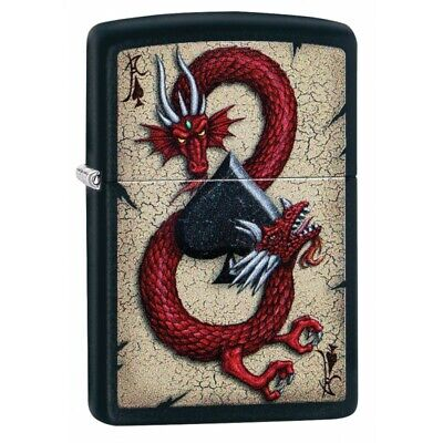 Zippo Unisex Lighter Dragon Ace Black Matte Finish, Windproof New & Boxed