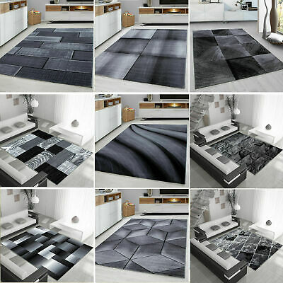 Modern Design Rug Black Grey Soft Large Living Room Floor Bedroom Carpet Rugs