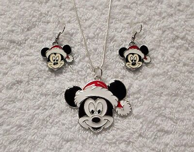 MICKEY MOUSE SANTA Unwanted Large Charm NECKLACE & EARRINGS Gift Set