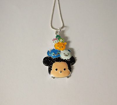 TSUM TSUM MICKEY MOUSE Inspired Large Charm NECKLACE + Rhinestones Stitch Pooh