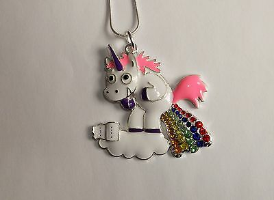 WHITE Cartoon UNICORN With RAINBOW Rhinestones Large Charm NECKLACE
