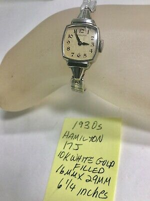 1930s Hamilton Ladys White Gold Filled Wristwatch With Expansion Band Running