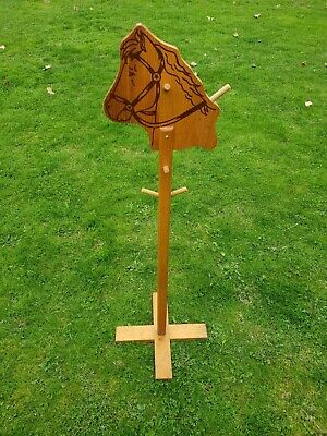 Vintage 1950s Wood Horse Head Clothes Tie Scarf Belt Holder Rack Stand 46 Inches