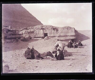 """LATE 1800s, ANTIQUE GLASS NEGATIVE; EGYPT,  """"RESTING AT FOOT OF PYRAMIDS"""" PEOPLE"""