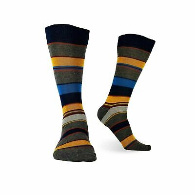 3 Pairs Mens Cotton Dress Socks Multicolor Casual Crew Striped Shoe Size 8-12