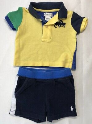 Ralph Lauren Baby Boys 3 Months Yellow Polo Shirt and Blue Knit Shorts Lot