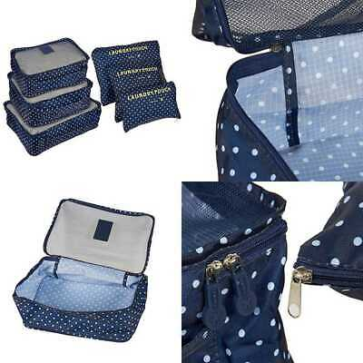 3 Pack Travel Packing Cubes & Laundry Pouch Bags BLUE WHITE Polka Dot NAVY DOT
