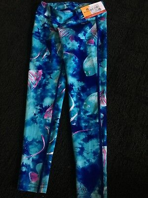 New With Tags Girls Champion Fish Print Performance Leggings Size XS 4/5