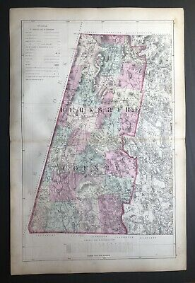 1871 Color Map, Berkshire County Massachusetts inc. Routes, Railroad Lines 26x17