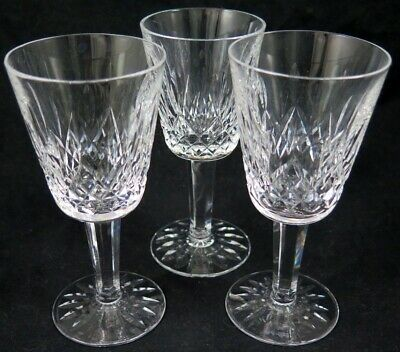 "Lot 3 Vintage WATERFORD Crystal LISMORE White Wine Goblets Glasses 5 1/2"" Tall"