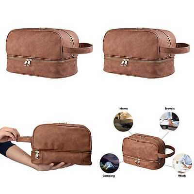 Goldwheat Leather Toiletry Bag For Men Shaving Dopp Travel Kits