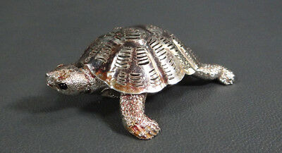 Christofle Lumiere Collection Silver Plate Turtle Figurine Miniature Black Onyx