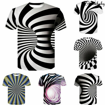 3D Hypnosis Swirl Print Mens Womens Casual T-Shirt Short Sleeve Graphic Tee Tops