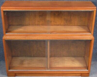 Minty Oxford Walnut Low 2 Tier Stacking Bookcase Cabinet