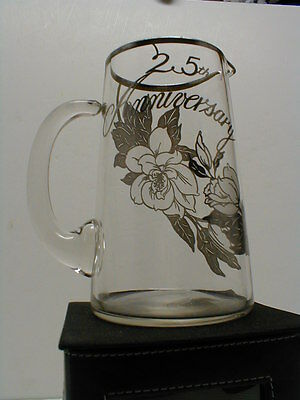 Sterling Silver Overlay Clear Glass Crystal 25th Wedding Anniversary Pitcher